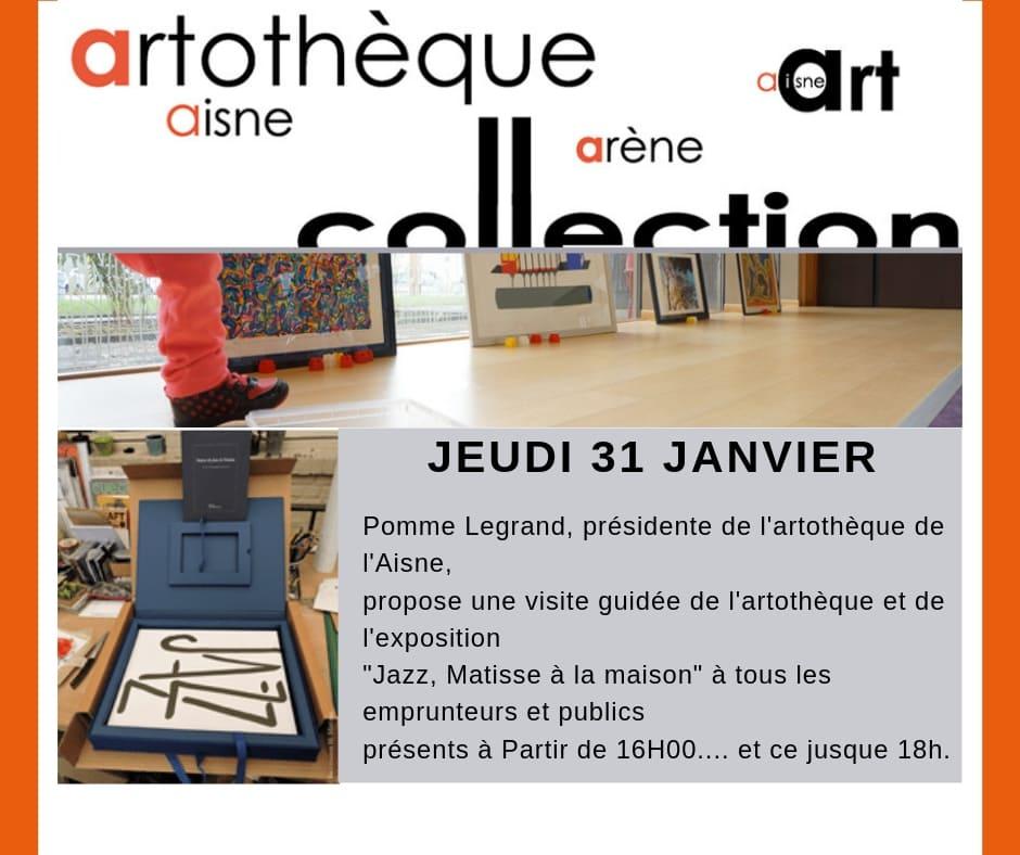 """Visite guidée de l'artothèque de l'Aisne et de l'exposition """"JAZZ, Matisse à la maison"""""""